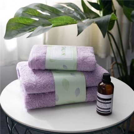 一岚家居 马卡龙素色浴巾毛巾套装紫色浴巾