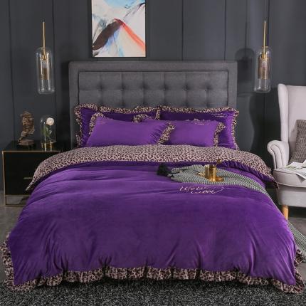钱夫人 2019冬款《美女与野兽》宝宝绒水晶绒四件套 紫色