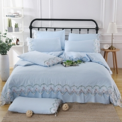 迎客松家紡純色水洗棉公主式韓版工藝款花邊床裙四件套天藍色