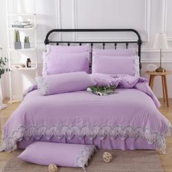 迎客松家紡純色水洗棉公主式韓版工藝款花邊床裙四件套紫色