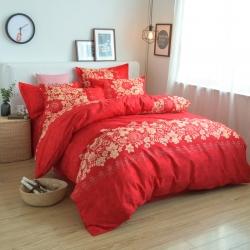 莱仕家纺 柔软舒适芦荟棉四件套床单款 热情玫瑰