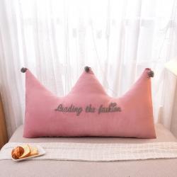 夢雨軒 毛巾繡水晶絨大靠背皇冠床靠枕床靠背枕芯 豆沙
