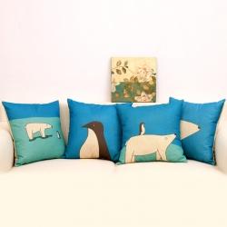 棉麻印花抱枕可爱北极熊靠垫含芯定制靠包