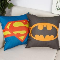 棉麻印花抱枕超人符号靠垫含芯定制靠包