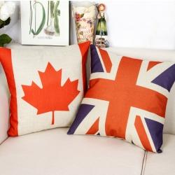 棉麻印花抱枕国旗图案靠垫含芯定制靠包