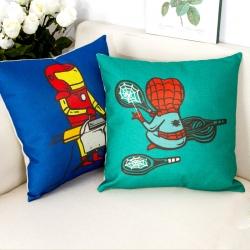 棉麻印花抱枕漫画超人靠垫含芯定制靠包