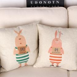 棉麻印花抱枕监狱兔靠垫含芯定制靠包