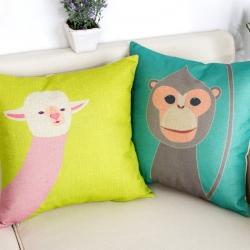 棉麻印花抱枕可爱淡彩动物园靠垫含芯定制靠包