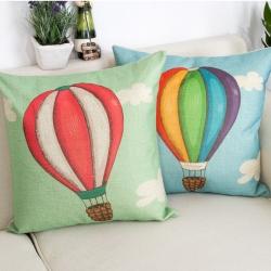 棉麻印花抱枕可爱热气球靠垫含芯定制靠包