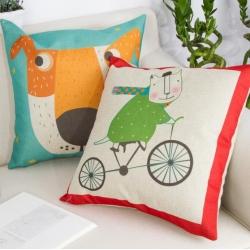 棉麻印花抱枕可爱卡通图案熊猫山羊靠垫含芯定制靠包