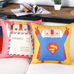 棉麻印花抱枕可爱卡通国王靠垫含芯定制靠包
