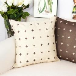 棉麻印花抱枕可爱黑白花纹靠垫含芯定制靠包