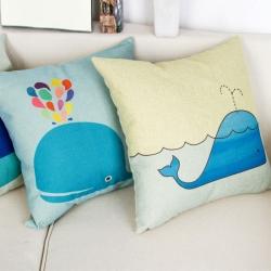 棉麻印花抱枕可爱卡通鲸鱼靠垫含芯定制靠包