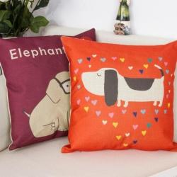 棉麻印花抱枕可爱卡通狗狗和大象靠垫含芯定制靠包