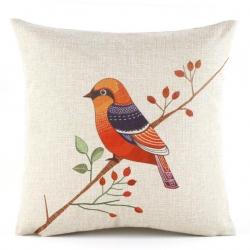 棉麻印花抱枕可爱卡通油画鸟靠垫含芯定制靠包