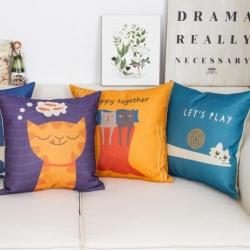 棉麻印花抱枕可爱卡多猫靠垫含芯定制靠包