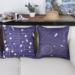 棉麻印花抱枕可爱卡通星际图靠垫含芯定制靠包