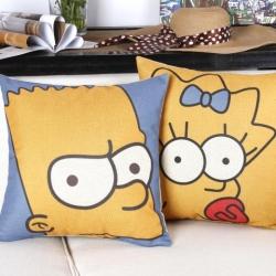 棉麻印花抱枕可爱卡通大黄鸡辛普森靠垫含芯定制靠包