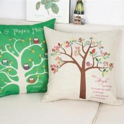 棉麻印花抱枕可爱卡通白杨树靠垫含芯定制靠包