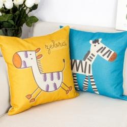 棉麻印花抱枕可爱斑马靠垫含芯定制靠包