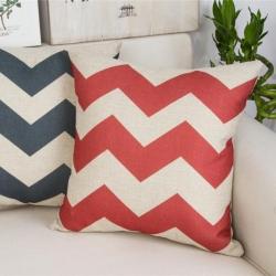 棉麻印花抱枕条纹图案靠垫含芯定制靠包