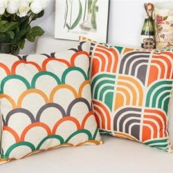 棉麻印花抱枕彩色条纹靠垫含芯定制靠包