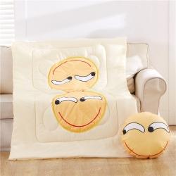 (总)布语家纺 QQ表情抱枕被空调被两用靠垫被