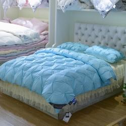 雪眠家紡 扭花羽絨被白鵝絨被子被芯冬被保暖被芯天藍色