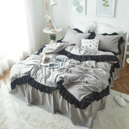 艾美玲家纺 西西里床裙款套件 灰色