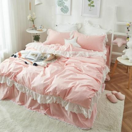 艾美玲家纺 西西里床裙款套件 粉红色