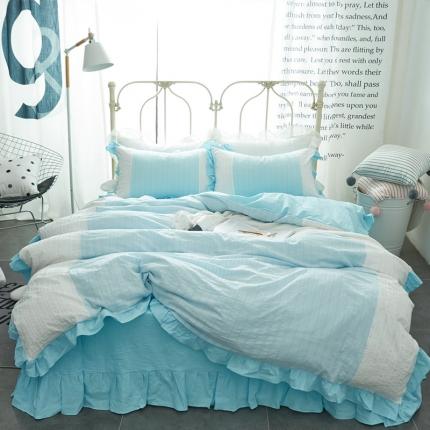 艾美玲家纺 初心床单款套件 初心蓝白