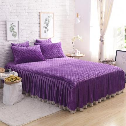 艾美玲家纺 水晶绒绗绣三件套床裙款 紫色