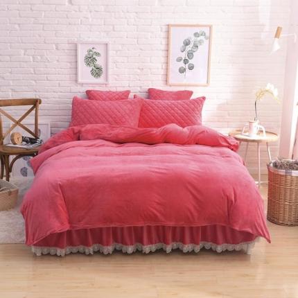 艾美玲家纺 水晶绒夹棉四件套床裙款 砖红色