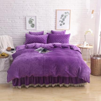 艾美玲家纺 水晶绒夹棉四件套床裙款 紫色