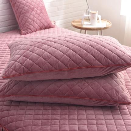 (总)艾美玲家纺 水晶绒绗绣单品枕套一对