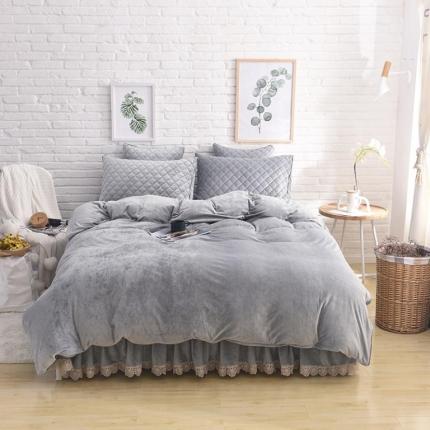 艾美玲家纺 水晶绒夹棉四件套床裙款 淡灰色