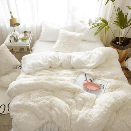 艾美玲家纺 新款水貂绒夹棉床裙四件套  白色