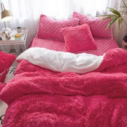 艾美玲家纺 新款水貂绒夹棉床裙四件套  玫红色