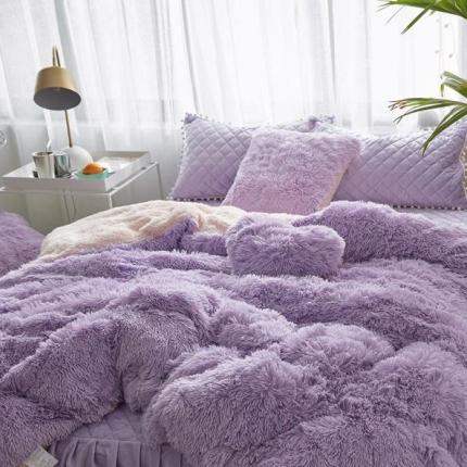 艾美玲家纺 新款水貂绒夹棉床裙四件套  紫色
