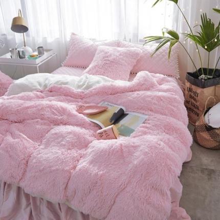 艾美玲家纺 新款水貂绒夹棉床裙四件套  粉红色