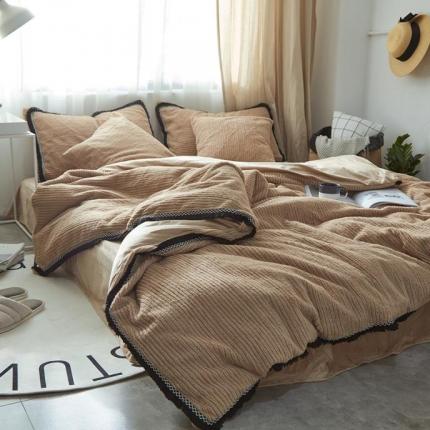 (总)艾美玲家纺 条纹绒水晶绒四件套床单款