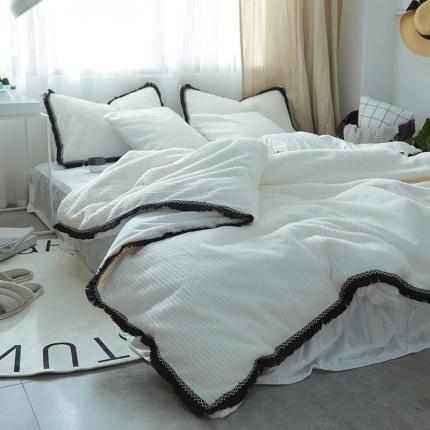 艾美玲家纺 条纹绒水晶绒四件套床单款白色