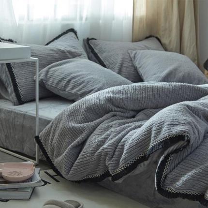 艾美玲家纺 条纹绒水晶绒四件套床单款灰色