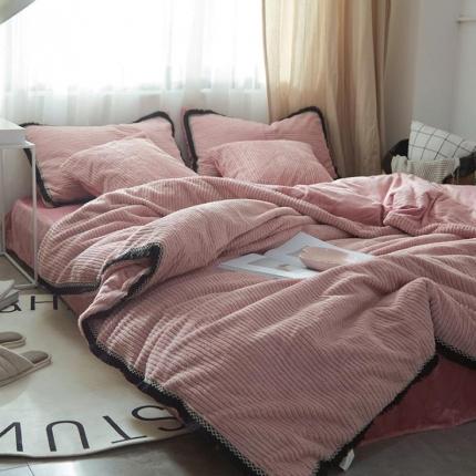 艾美玲家纺 条纹绒水晶绒四件套床单款橡皮粉