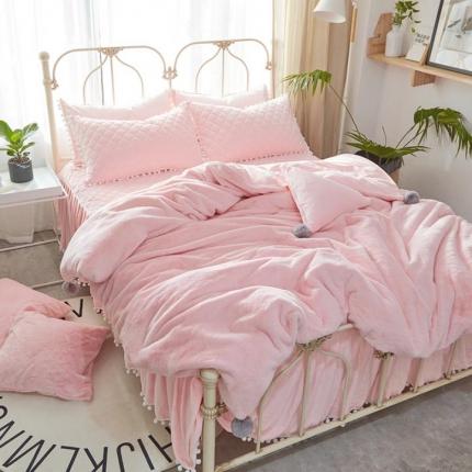 艾美玲家纺 兔兔绒水晶绒夹棉床裙款四件套粉色