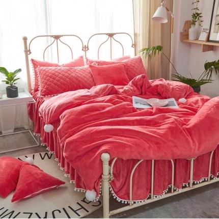 艾美玲家纺 兔兔绒水晶绒夹棉床裙款四件套红色