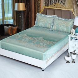 夏季冰丝席床包新潮刺绣花边提花印花1.5/1.8可折叠凉席子
