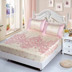 新潮可水洗床包提花印花三件套1.5/1.8米夏季冰丝凉席子