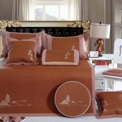 牛氏席铺 水芙山竹 轻居系列刺绣印尼藤席可折叠空调席夏凉席