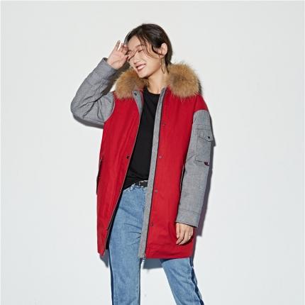 百思寒家纺 95鹅绒服中长款大毛领茧型宽松户外拼接时尚外套潮